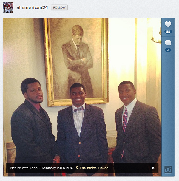 Geno Smith in front of JFK